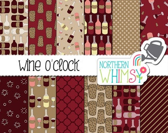 Wine Digital Paper Pack - Burgundy scrapbook paper with hand drawn wine patterns - bottles, corks, & glasses - commercial use