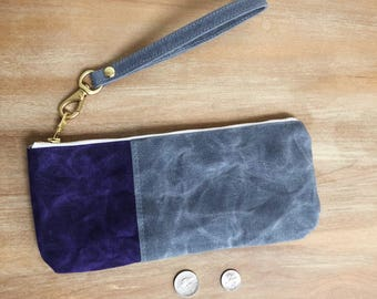 Small Purple and Grey Waxed Canvas Zippered  Pouch with Wrist Strap, Wristlet, Clutch, Zippered Pouch