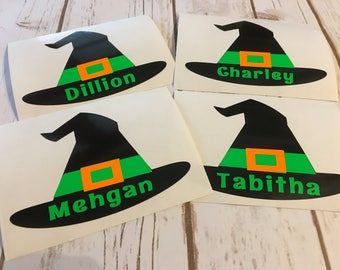 Witch Hat Decal - Fall Decal - Halloween Decal - trick or treat bucket - trick or treat pail - vinyl decal - monogram decal