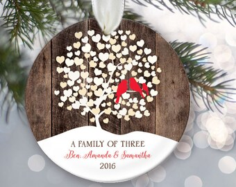 Lovebirds Family of Three Ornament, Personalized Christmas Ornament, Rustic faux / fake wood Ornament, New Parents Gift, Family of 3 OR008