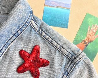 Embroidered brooch Red starfish Starfish brooch Red brooch Embroidered starfish Sequin embroidered Ocean jewelry Beaded jewelry
