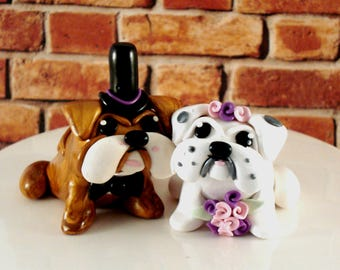 Bulldog Wedding Cake Toppers Bride and Groom Bulldog Cake Toppers Wedding Keepsake Anniversary Cake Topper