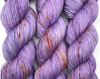 "Hand Dyed Yarn ""Shrieking Violet"" Violet Purple Yellow Gold Green Speckled Merino Sport Weight Superwash 328yds 100g"