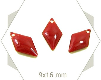 6 brick red diamond charms SEL06 sequins