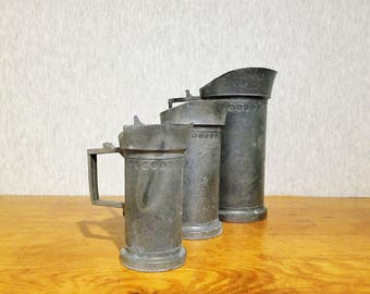 Vintage Italian pewter measuring cups set made by Norleans, set of three pitchers handmade in Italy, farmhouse rustic decor