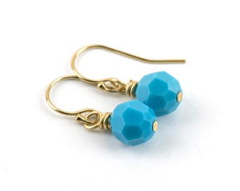 Turquoise Gold Earrings | Wedding Jewelry for Bridesmaids | 14k Gold Filled Crystal Earrings