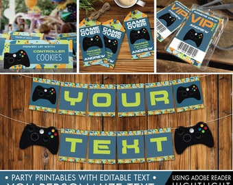 Video Game Party Decor Set, Gamer Birthday, Video Game, Game Truck, Blue Camo, Self-Editing | DIY Editable Text INSTANT DOWNLOAD Printable