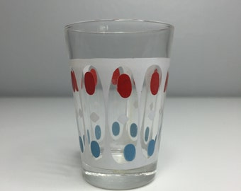 vintage retro mid century shot glass red, blue, and white