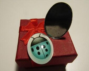 Kit creation ring, support, oval cabochon, ladybug, gift box