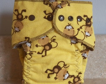 Fitted Small Cloth Diaper- 6 to 12 pounds- Monkeys on Yellow- 17002