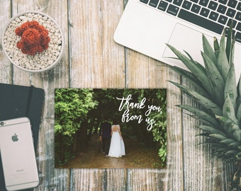 "Custom Wedding Photo Thank You Cards BLANK INSIDE (Set of 50) 5.5"" x 4"""