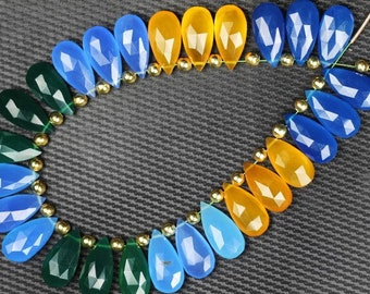 27 piece faceted pear multi color CHALCEDONY briolette beads 8 x 17 mm approx