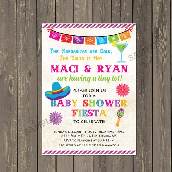 Mexican Fiesta Baby Shower Invitation Mexican Themed Fiesta