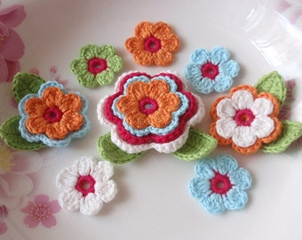 Crochet Flowers With Leaves In Orange, Blue, White, Green, Dark Pink YH-003-01