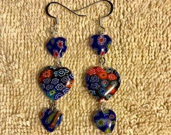Three heart millefiori art glass earrings