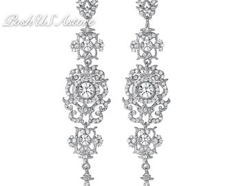 PoshUSAstore Silver Color,Gold color Crystal Wedding Long Earrings Floral Shape Chandelier Earrings