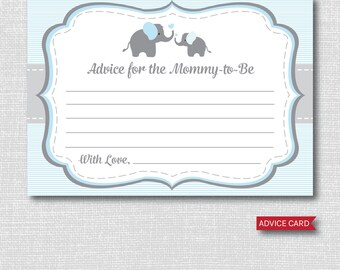 Blue Elephant Advice Card - Baby Advice Card - Boy Elephant Baby Shower - INSTANT DOWNLOAD