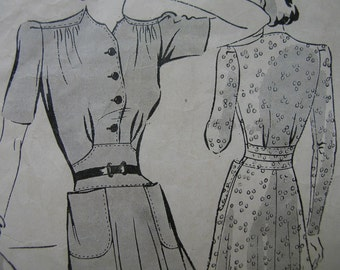 Fabulous Vintage 40's Misses' BUTTERICK FROCK Dress Pattern