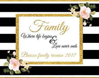 Large Personalized Family Reunion banner, Family Backdrop, Family Reunion Signs, Party Decoration, family reunion, Family banner;10000376