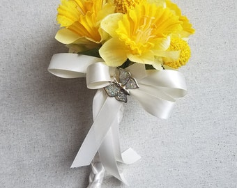 Wedding  Daffodil Toss Bouquet / Throw Away Bouquet / Flower Girl Bouquet