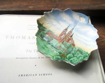 Vintage Maple Leaf Trinket Dish, 1950's Transferware ~ Wisconsin Souvenir Dish, Holy Hill WI, Beautiful Basilica