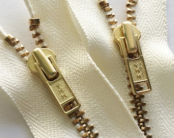 Brass Zippers- 14 inch closed bottom ykk metal teeth zips- (5) pieces - Off White Cream Vanilla 121