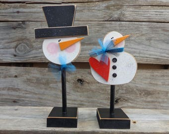 Winter Decor- Snow Decor- Snowman Decor- Snowman on stands set of 2