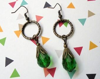 Emerald Green and Brass Teardrop Earrings (3268)