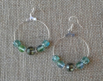 Sparkly Teal Czech Glass Hoop Earrings with French Hook Ear Wires, 30 mm