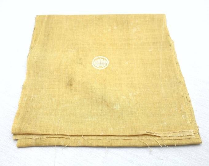 Vintage Japanese Hemp Linen Fabric with Botanical Dye and Kamon Design (Ref: 1251)