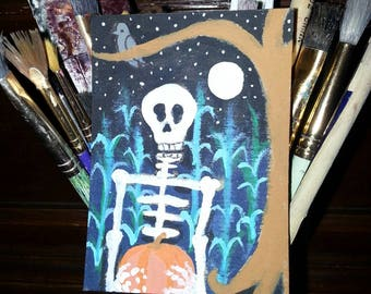 Skully's Harvest ACEO Original