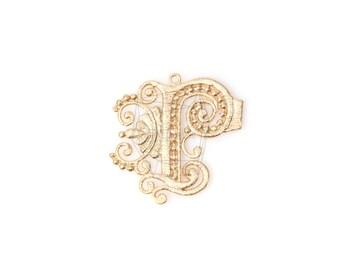 PDT-798-MG/2PCS/Fancy Alphabet R Pendant/27mm x 29mm/Matte Gold Plated Over Brass