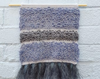 Knitted Wall Hanging 'Moody Skies' - cotton & mohair, sustainable wall art, minimal home decor, grey, new home gift for mum, mothers day