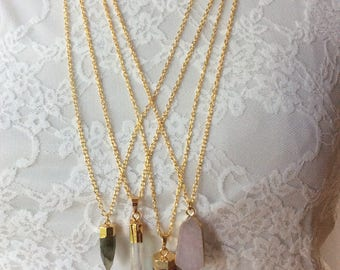 Various druzy pendant necklaces 30 inches, raw crystal necklaces, crystal pendant