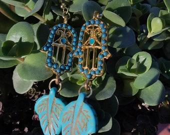 Turquoise Hamsa Hand Leaf Dangle Earrings