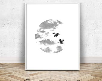 Flying Birds Photo | Printable Bird Art | Black and White Flock of Birds Wall Art | Canada Geese in Flight | 8x10 Flying Birds Decor