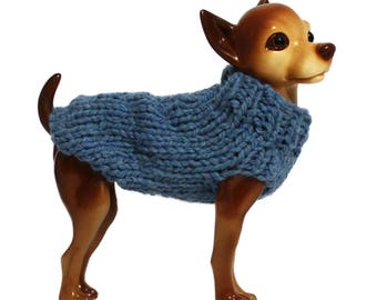 Hand Knit Blue Dog Sweater