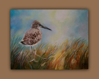 Original Oil BEACH BIRD, Original Oil Painting, bird, beach, grasses, sand, sky, signed by the artist, DanaC