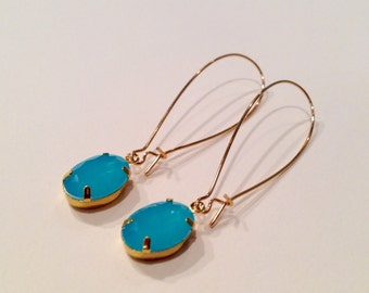 Turquoise Crystal Gold Drop Earrings