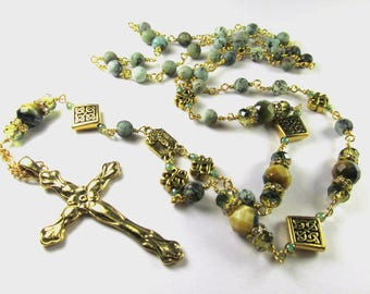 Long Rosary Cross Necklace with Green Tigers Eye Stones, Celtic Diagonal Square Beads, Czech Glass and Crystal on African Turquoise Chain