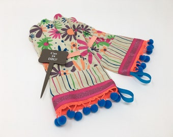 Designer Garden Gloves. Colorful Flowers, Glitter and Neon Pom Poms. Fancy Work Gloves for Women. Mother's Day Gift. Gardener's Present.