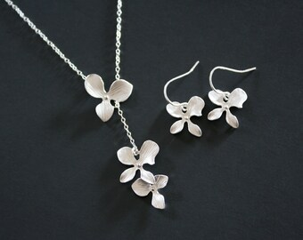 wedding jewelry . Bridesmaid gift. Orchid Gift Set Necklace and Earrings Sterling Silver