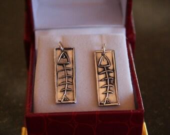 Fish Bone Earrings in Fine Silver