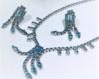 Wiesner Rhinestone Necklace Earrings / Mid Century / Demi Parure Set