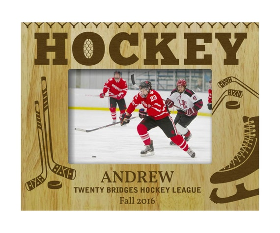 Personalized Hockey Picture Frame, Wooden Custom Frame, Rustic ...