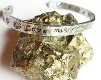 LOVE Makes The World Go Around ~ Hand Stamped Personalized Custom Name Initials Gotcha Day Quote hammered  Aluminum Cuff Bracelet