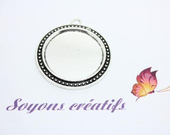 5 pendants charm silver antique ring 30mm - SC20516-