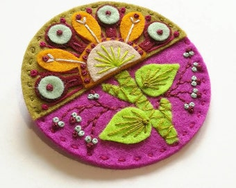 Spring felt brooch statement pin - hand embroidery - scandinavian style - unique - limited edition - pink sage ochre flowers nature