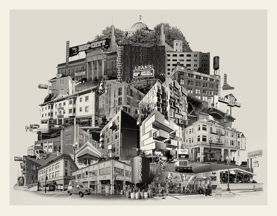 Portland Fine Art Photography -- Reconstructing East Burnside --  Photomontage -- Original Artwork -- Photo Collage