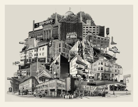 Portland Archival Pigment Print -- Reconstructing East Burnside -- Photomontage -- Limited Edition Fine Art Print -- Photo Collage